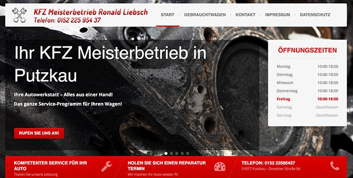 Autoservice Putzkau Webseite Homepage erstellen Bischofswerda Webshop gestalten Pulsnitz Webdesign