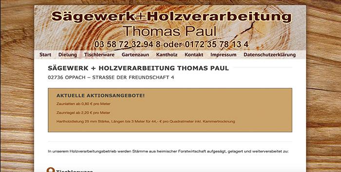 Holzverarbeitung Paul Oppach Löbau Homepage erstellen Webdesign Görlitz