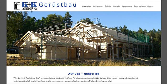 KK Gerüstbau Webshop gestalten Königsbrück Homepage Webseite erstellen Pulsnitz