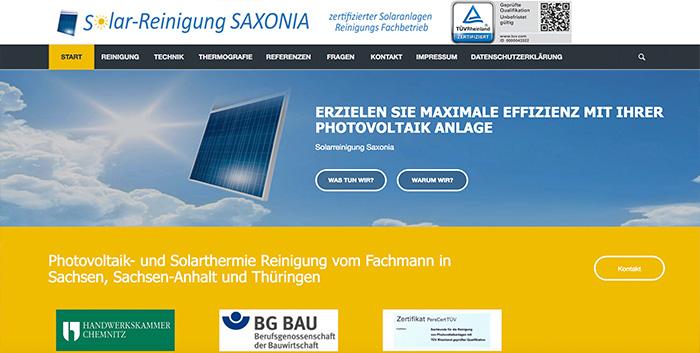 Solarreinigung Saxonia Webseiten erstellen Chemnitz Homepage Webshop gestalten Freiberg
